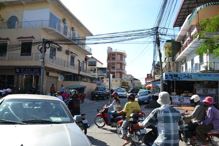 Crazy traffic in the capital of Cambodia, Phnom Penh
