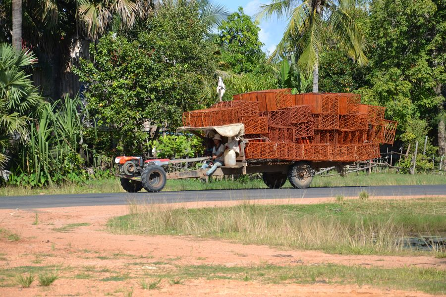 The road from Phnom Penh to Siem Reap Cambodia