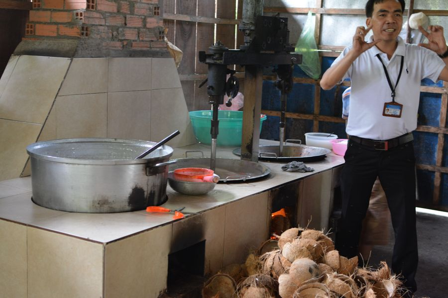 Making at coconut candies at the Mekong Delta in Vietnam.